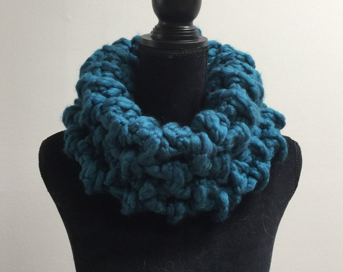 Handmade Scarf Cowl Bulky Warm Soft Wool Blend Brown Large Oversized Textured Thick Infinity Dark Turquoise