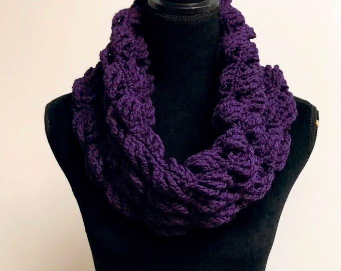 Handmade Scarf Cowl Bulky Warm Soft Vegan Yarn Large Oversized Textured Thick Infinity Crochet Knit Purple Unique Designer