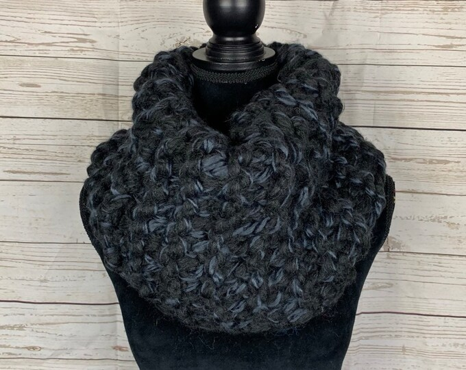 FREE SHIPPING Handmade Scarf Cowl Super Bulky Warm Soft Wool Blend Brown Large Oversized Textured Thick Infinity Dark Gray Black