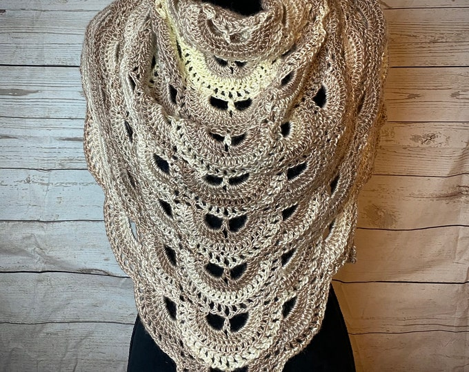 Handmade Oversized Boho Bohemian Crochet Shawl Wrap Large Scarf Unique Designer Free Shipping Gypsy Triangle Beige Off White