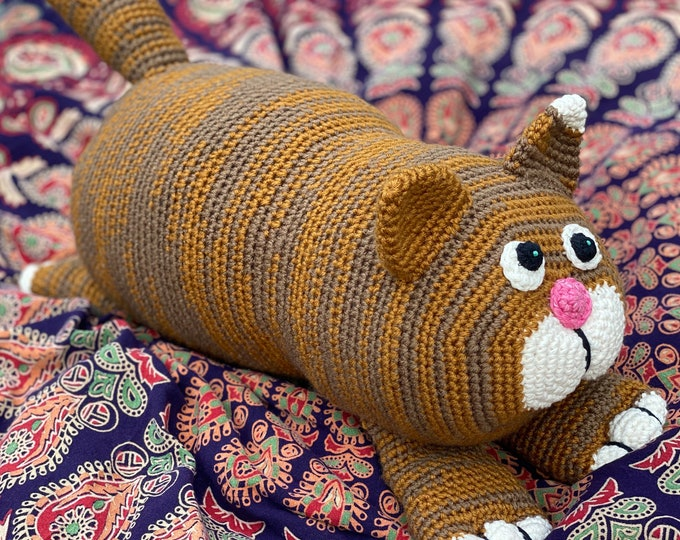 Crochet Stuffed Toy Animal Cat Large Oversized Acrylic Plush Handmade