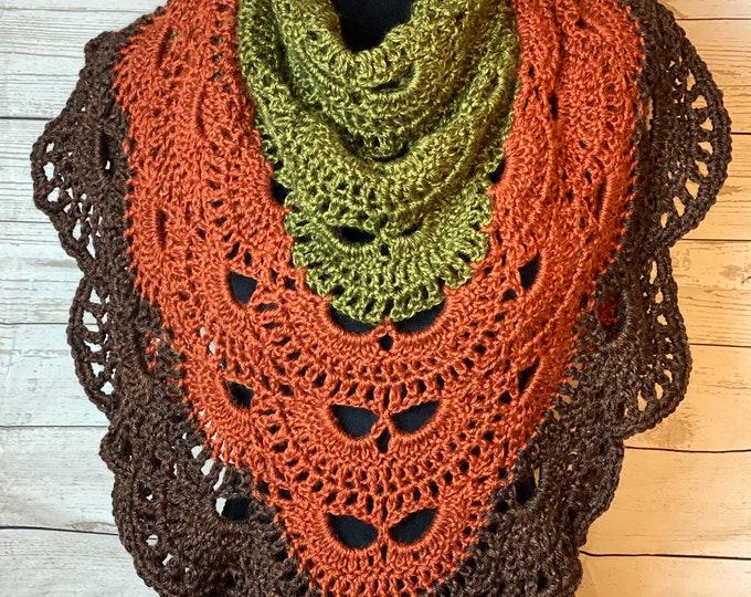 FREE Shipping Handmade Oversized Boho Bohemian Crochet Shawl Wrap Large Scarf Unique Designer Free Shipping Triangle Brown Green Green