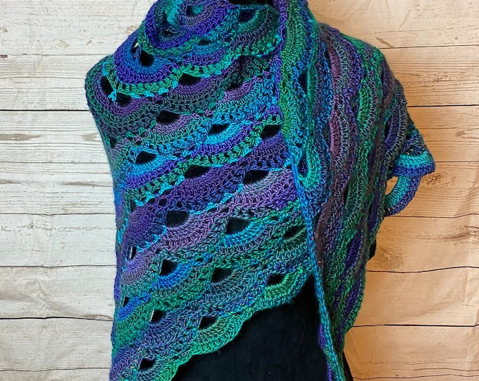 Handmade Oversized Boho Bohemian Crochet Shawl Wrap Large Scarf Unique Designer Free Shipping Gypsy Triangle Green Purple Blue