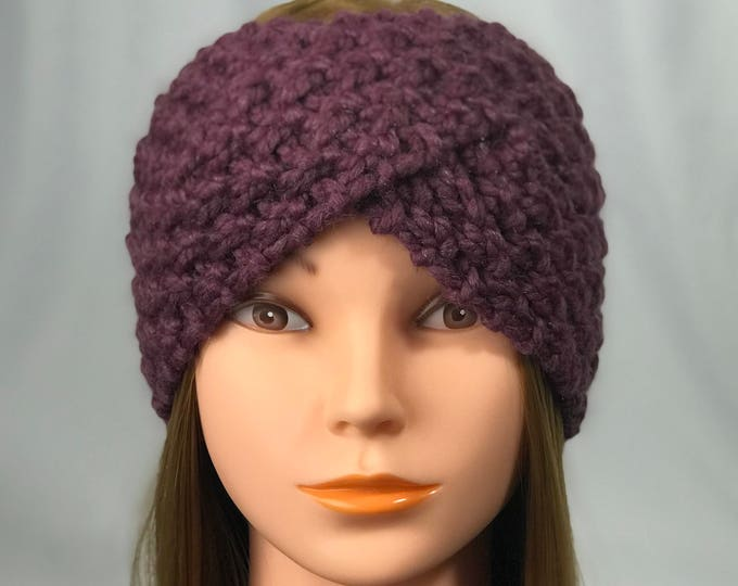 FREE SHIPPING Knitted Ear Warmer Headband Winter Handmade Twist Knit Crochet Headwrap  Designer Unique Hat Beanie Messy Bun Burgundy Wine