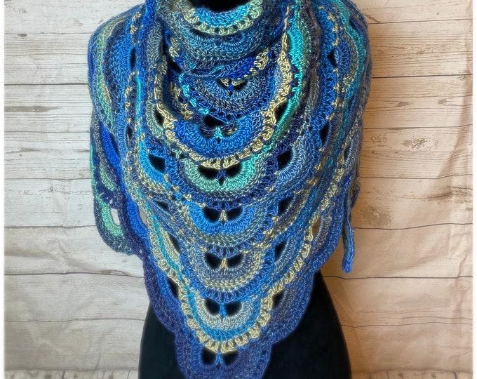 Handmade Oversized Boho Bohemian Crochet Shawl Wrap Large Scarf Unique Designer Free Shipping Gypsy Triangle Blue