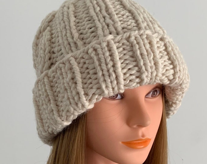 FREE SHIPPING Oversized Cable Beanie Hat Crochet Knit Twist Handmade Wool Acrylic White Unique Designer Unisex Adult Cream Slouchy Bulky