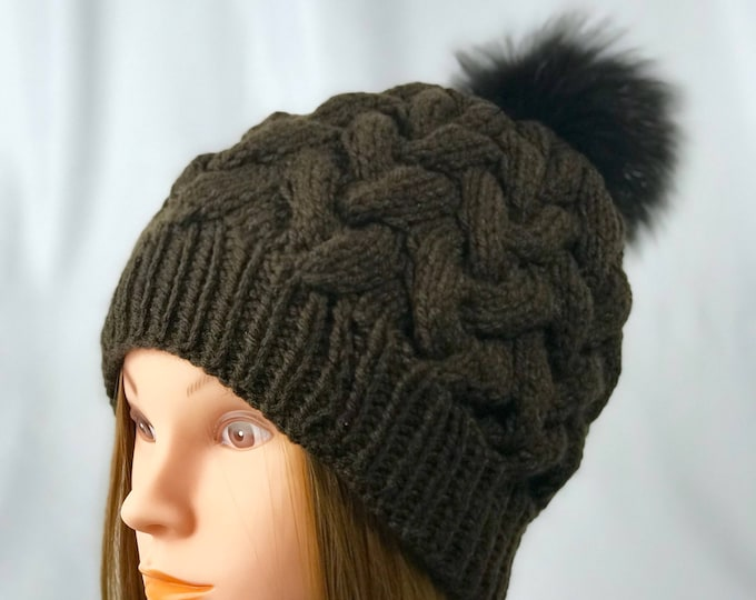 Handmade Knitted Crochet Slouchy Beanie Real Fox Fur Pompom Hat Unisex Cable Braid Knit Unique Winter Designer Unique Chocolate Brown