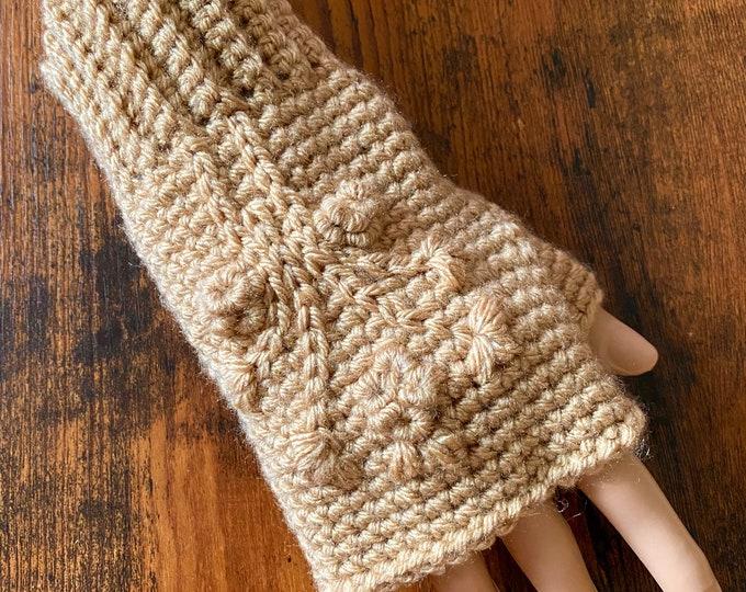 FREE Shipping Fingerless Handmade Crochet Knit Gloves Mittens Wristwarmers Handwarmers Mits Cute Acrylic Boho Cream Beige