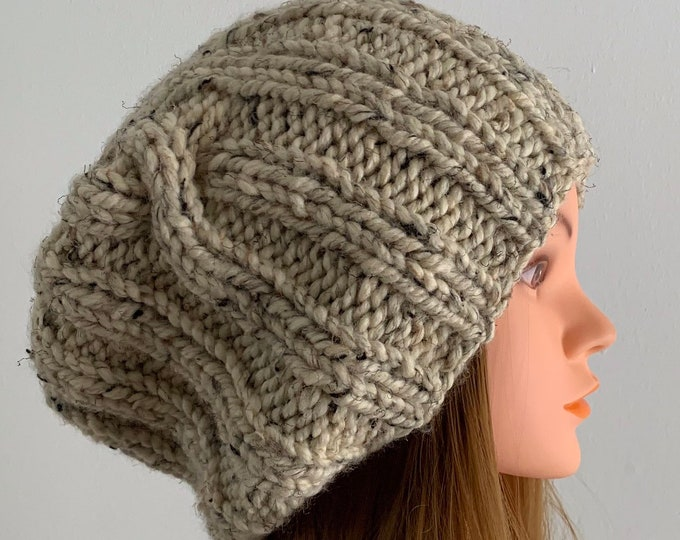 FREE SHIPPING Oversized Cable Beanie Hat Crochet Knit Twist Handmade Wool Acrylic Blend Unique Designer Unisex Adult Cream Slouchy Bulky