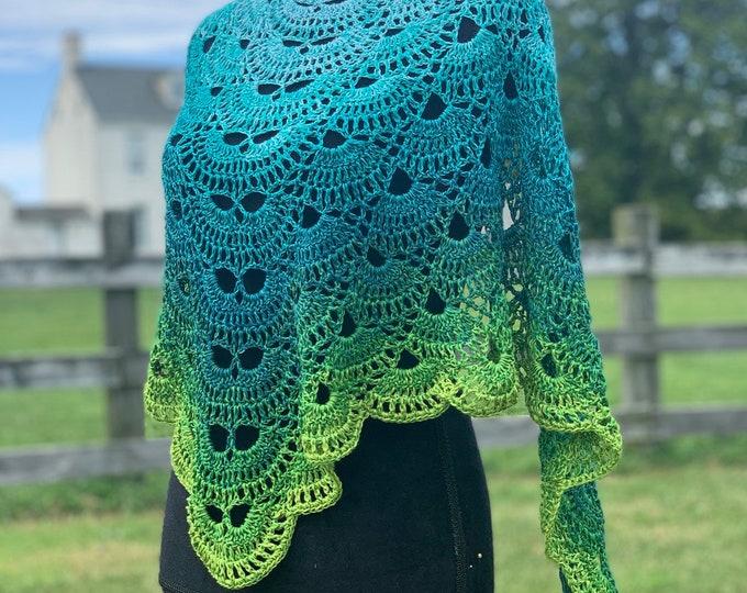 Handmade Oversized Boho Bohemian Crochet Shawl Wrap Large Scarf Unique Designer Free Shipping Gypsy Triangle Cotton Summer