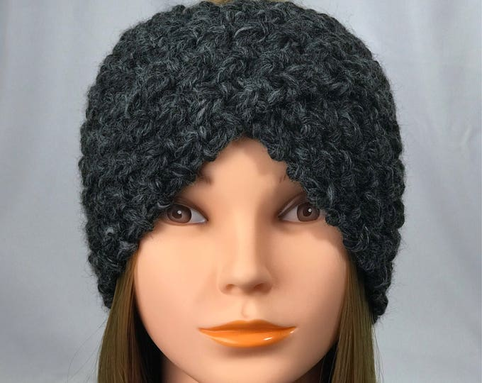 FREE SHIPPING Knitted Ear Warmer Headband Winter Handmade Twist Knit Crochet Headwrap  Designer Unique Hat Beanie Messy Bun Dark Gray Black