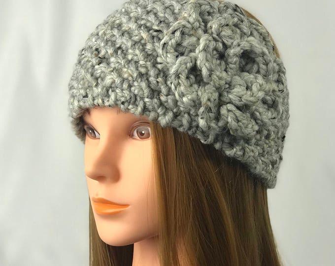 FREE SHIPPING Knitted Ear Warmer Headband Winter Handmade Twist Knit Crochet Flower Headwrap Boho Unique Hat Beanie Messy Bun Gray