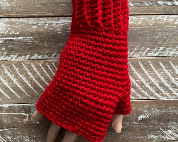 FREE Shipping Fingerless Handmade Crochet Knit Gloves Mittens Wristwarmers Handwarmers Red Mits Cute Acrylic