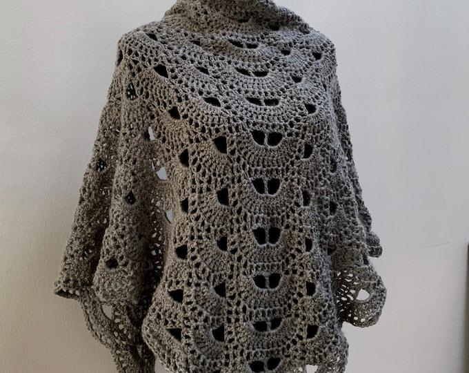FREE Shipping Handmade Oversized Boho Bohemian Crochet Shawl Wrap Large Scarf Unique Designer Free Shipping Gypsy Triangle White Gray