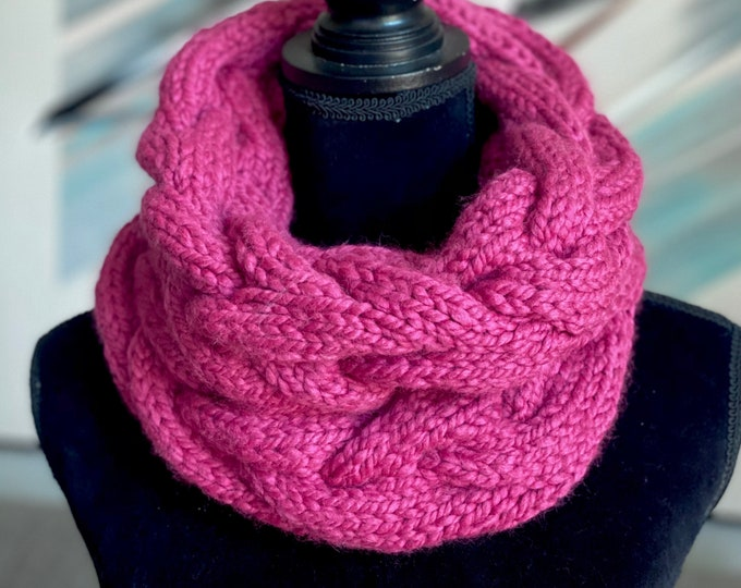 Handmade Scarf Cowl Bulky Warm Soft Wool Blend Brown Large Oversized Textured Thick Infinity Crochet Knit Cable Pink