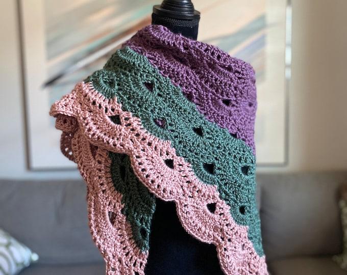 FREE Shipping Handmade Oversized Boho Bohemian Crochet Shawl Wrap Large Scarf Unique Designer Free Shipping Triangle Purple Pink Green