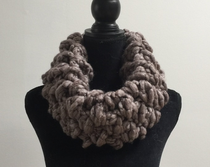 Handmade Scarf Cowl Bulky Warm Soft Wool Blend Brown Large Oversized Textured