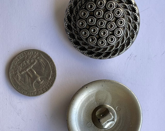 Vintage Plastic Silver Large Oversized Buttons Set of 2 Lot Round