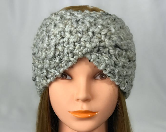 FREE SHIPPING Knitted Ear Warmer Headband Winter Handmade Twist Knit Crochet Headwrap  Designer Unique Hat Beanie Messy Bun Gray Black