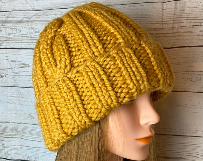 FREE SHIPPING Oversized Cable Beanie Hat Crochet Knit Handmade Wool Acrylic Blend Unique Designer Unisex Adult Mustard Brown Bulky Slouchy