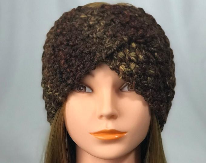 FREE SHIPPING Knitted Ear Warmer Headband Winter Handmade Twist Knit Crochet Headwrap  Designer Unique Hat Beanie Messy Bun Dark Brown