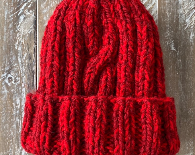 FREE SHIPPING Oversized Cable Beanie Hat Crochet Knit Twist Handmade Wool Acrylic Unique Designer Unisex Adult Red Slouchy Bulky