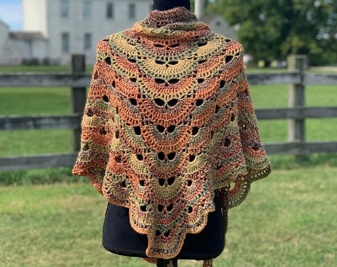 Handmade Oversized Boho Bohemian Crochet Shawl Wrap Large Scarf Unique Designer Free Shipping Gypsy Triangle Gold Beige