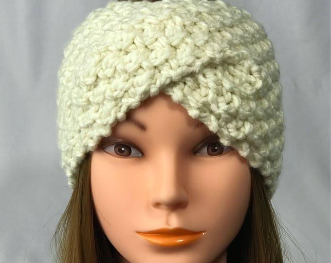FREE SHIPPING Knitted Ear Warmer Headband Winter Handmade Twist Knit Crochet Headwrap  Designer Unique Hat Beanie Cream White Messy Bun