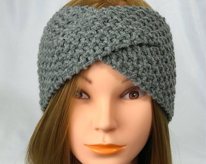 FREE SHIPPING Knitted Ear Warmer Headband Winter Handmade Twist Knit Crochet Headwrap  Designer Unique Hat Beanie Messy Bun Light Gray