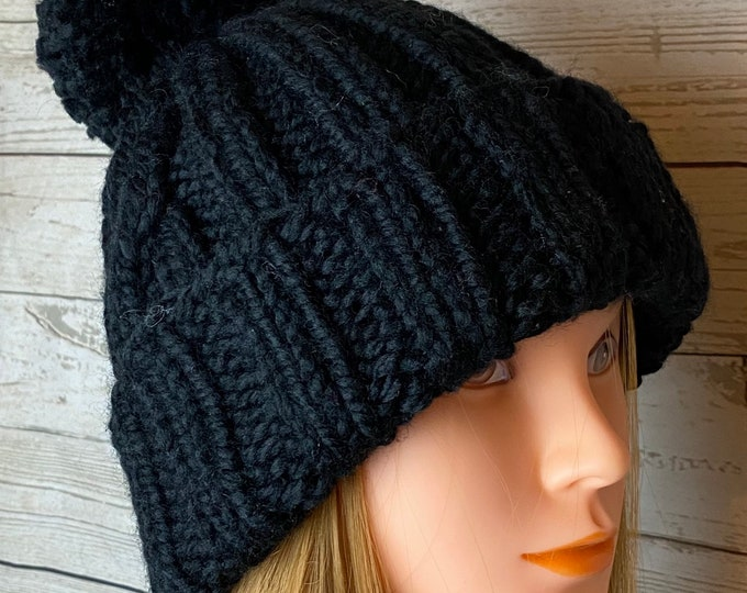 FREE SHIPPING Oversized Cable Beanie Hat Crochet Knit Handmade Wool Acrylic Pompom Unique Designer Unisex Adult Pompom Bulky Slouchy Black