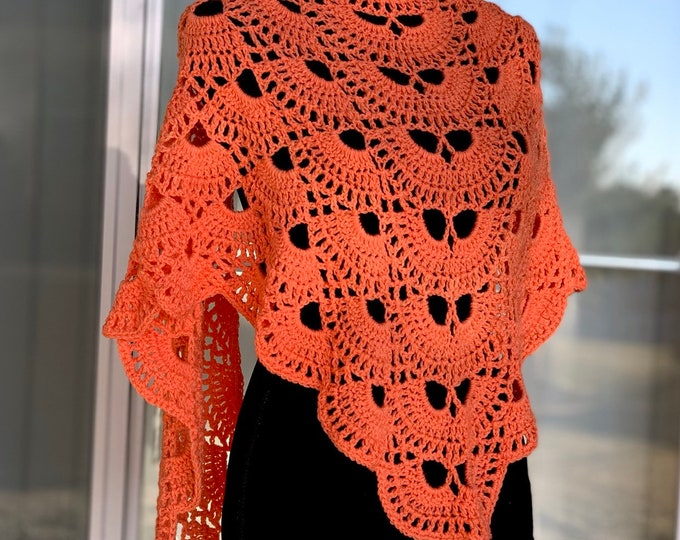 FREE Shipping Handmade Oversized Boho Bohemian Crochet Shawl Wrap Large Scarf Unique Designer Free Shipping Gypsy Triangle Salmon Orange