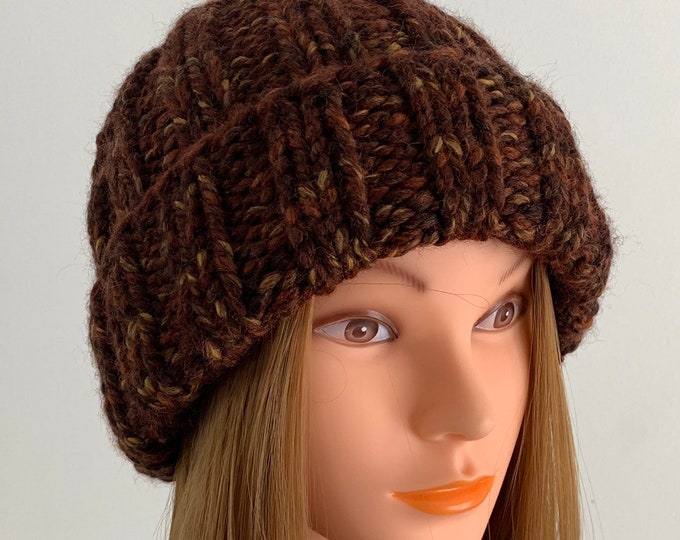 FREE SHIPPING Oversized Cable Beanie Hat Crochet Knit Handmade Wool Acrylic Blend Unique Designer Unisex Adult Brown Dark Bulky Slouchy