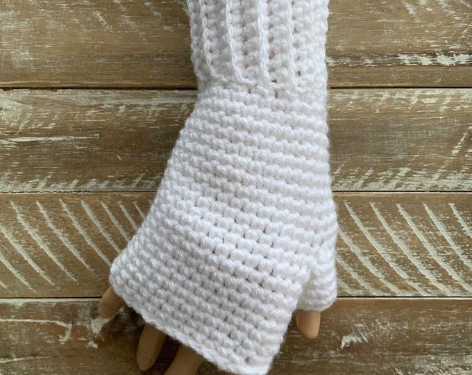 FREE Shipping Fingerless Handmade Crochet Knit Gloves Mittens Wristwarmers Handwarmers White Mits Cute Acrylic