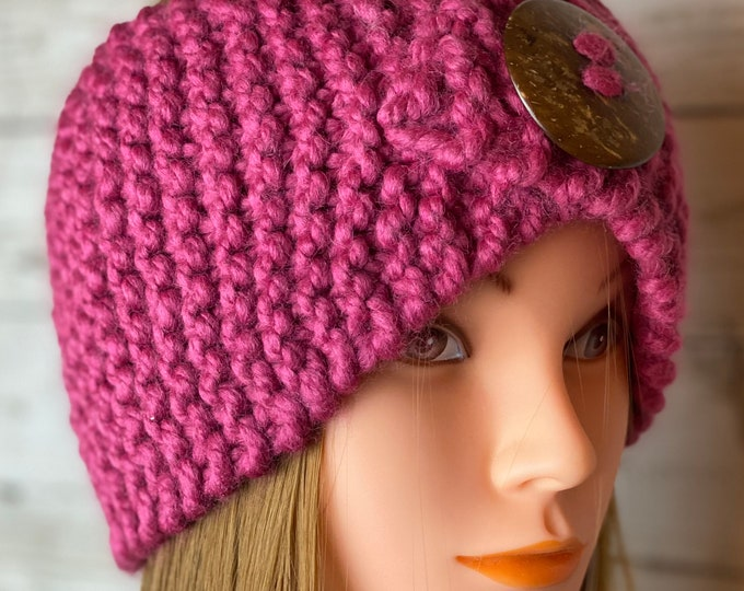 FREE SHIPPING Knitted Ear Warmer Headband Winter Handmade Twist Knit Crochet Headwrap with Button Unique Hat Beanie Pink Messy Bun