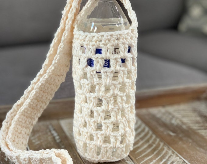 Water Bottle Tote Bag Cover Holder Cozy Beverage Soda Drink Crossbag Fitness Purse White Cream