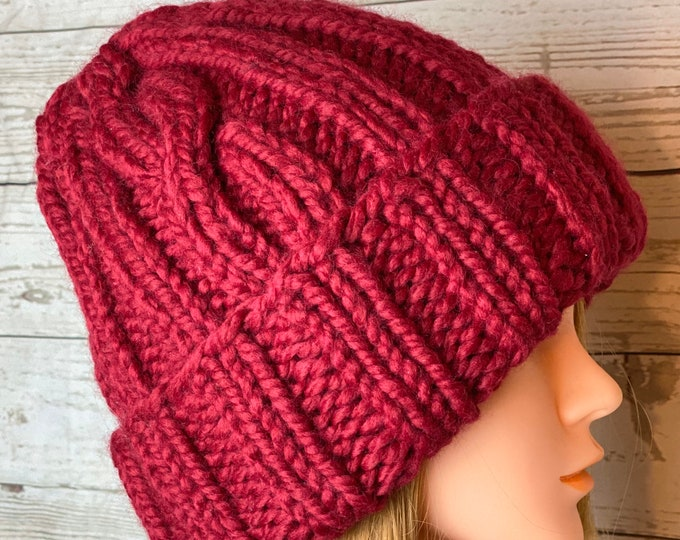 FREE SHIPPING Oversized Cable Beanie Hat Crochet Knit Twist Handmade Wool Acrylic Red Unique Designer Unisex Adult Cream Slouchy Bulky