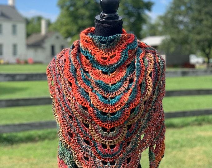 Handmade Oversized Boho Bohemian Crochet Shawl Wrap Large Scarf Unique Designer Free Shipping Gypsy Triangle Orange Blue