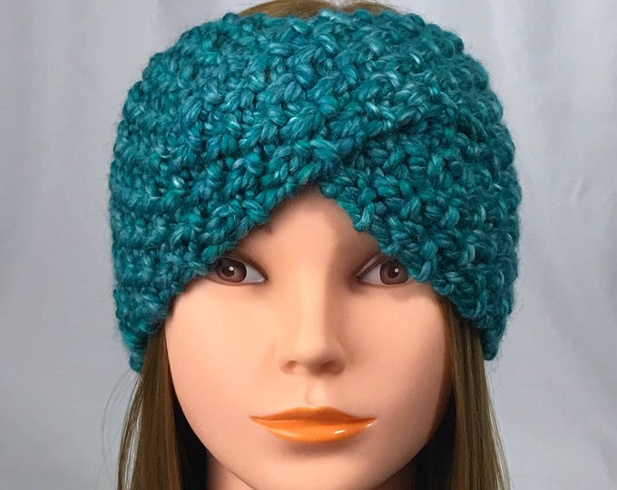 FREE SHIPPING Knitted Ear Warmer Headband Winter Handmade Twist Knit Crochet Headwrap  Designer Unique Hat Beanie Messy Bun Teal Blue