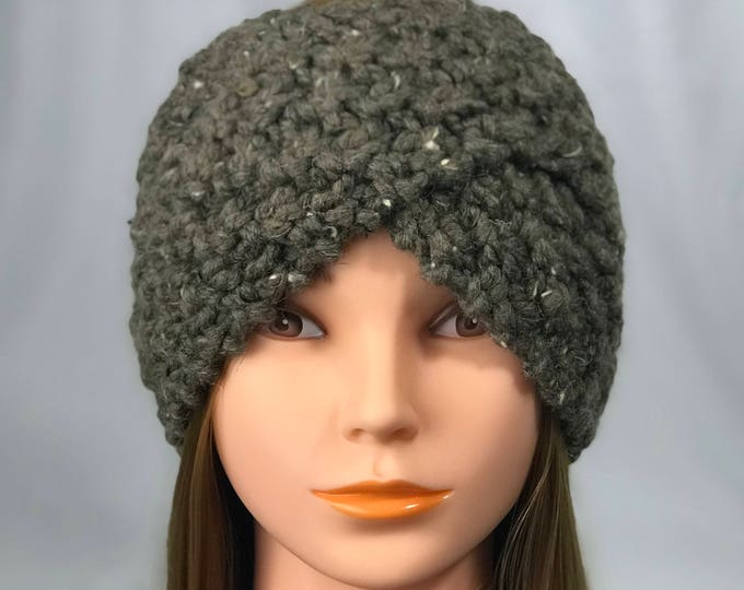 FREE SHIPPING Knitted Ear Warmer Headband Winter Handmade Twist Knit Crochet Headwrap  Designer Unique Hat Beanie Messy Bun Brown Gray