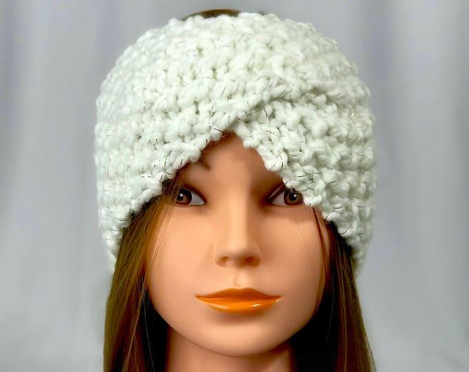 FREE SHIPPING Knitted Ear Warmer Headband Winter Handmade Twist Knit Crochet Headwrap  Designer Unique Hat Beanie Snow White Messy Bun