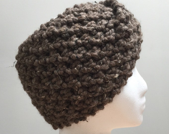 FREE SHIPPING Knitted Ear Warmer Brown Headband Winter Handmade Twist Knit Crochet Headwrap Headwarmer Designer Unique Hat Beanie Cute