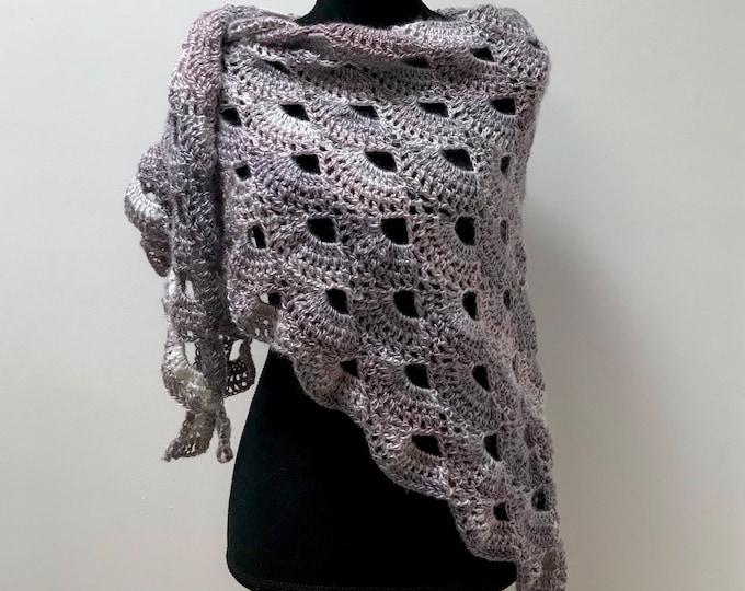 Handmade Oversized Boho Bohemian Crochet Shawl Wrap Large Scarf Unique Designer Free Shipping Gypsy Triangle