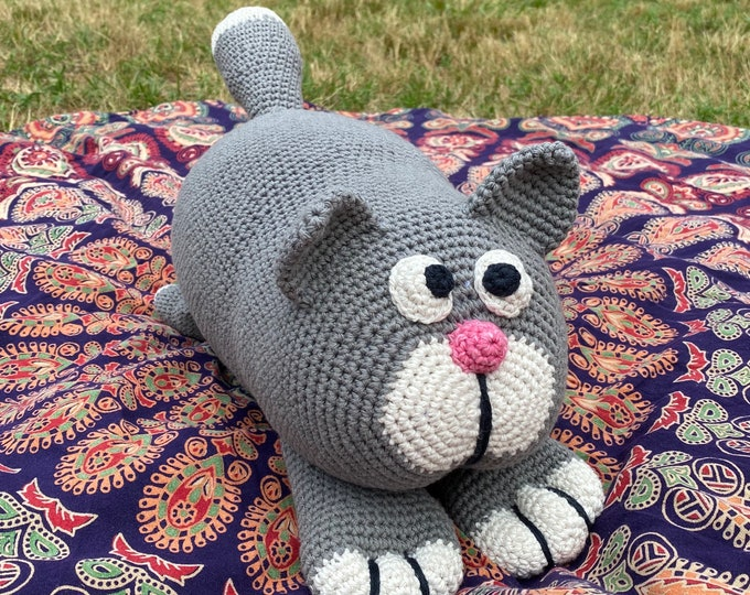 Crochet Stuffed Toy Animal Cat Large Oversized Cotton Plush Handmade