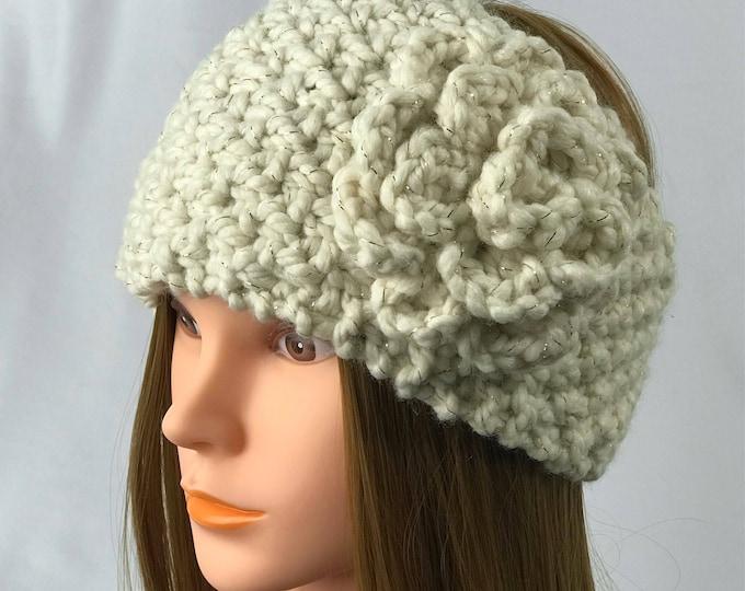 FREE SHIPPING Knitted Ear Warmer Headband Winter Handmade Twist Knit Crochet Flower Headwrap Boho Unique Hat Beanie Messy Bun Cream