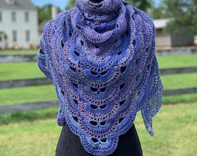 Handmade Oversized Boho Bohemian Crochet Shawl Wrap Large Scarf Unique Designer Free Shipping Gypsy Triangle Purple