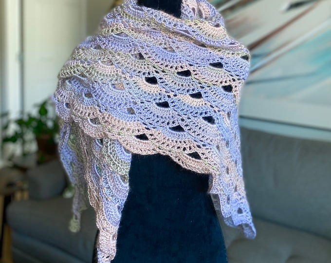 Handmade Oversized Boho Bohemian Crochet Shawl Wrap Large Scarf Unique Designer Free Shipping Gypsy Triangle Beige Light Lavender