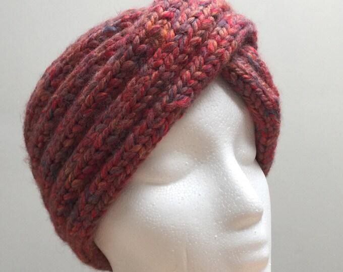 Knitted Ear Warmer Red Headband Winter Handmade Twist Knit Crochet Headwrap Headwarmer Designer Unique Hat Beanie Textured Chunk