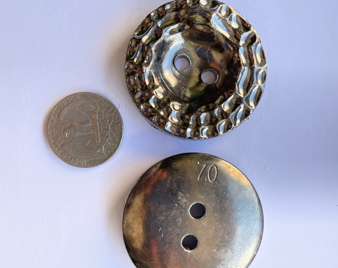 Vintage Plastic Dark Gray Silver Large Oversized Buttons Set of 2 Lot Round
