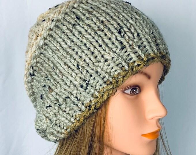 Handmade Knitted Crochet Slouchy Beanie Hat Unisex Stylish Fashion Textured Designer Unique Oversized Boho Hipster Knit