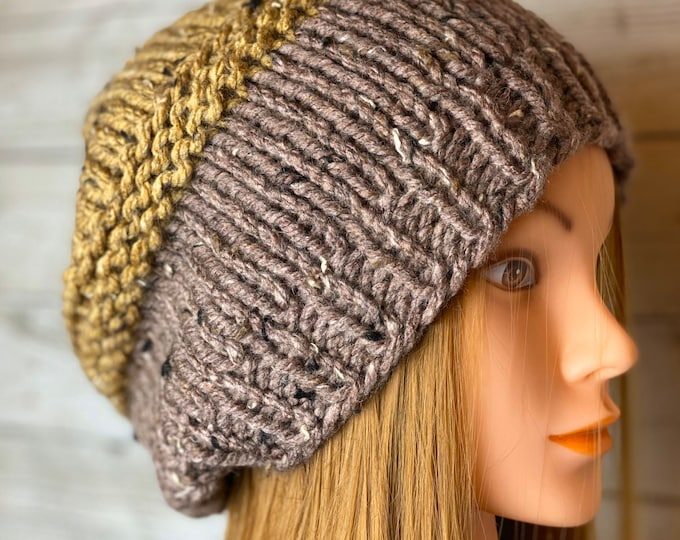 FREE SHIPPING Oversized Cable Beanie Hat Crochet Knit Twist Handmade Wool Acrylic Multicolor Designer Unisex Adult Slouchy Bulky